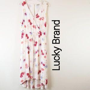 Lucky Brand XL Floral Hi Low Hem V-Neck Dress